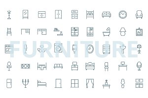 Furniture - 45 simple icons