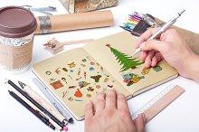 Color christmas doodle elements