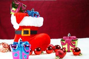 Santa boots and gift
