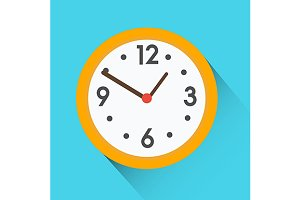 Yellow round clock icon