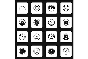 Speedometer icons set, simple style