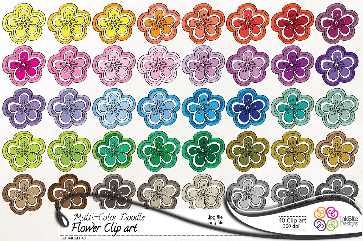 Multi-Color Doodle Flower Clip art ~ Illustrations ...