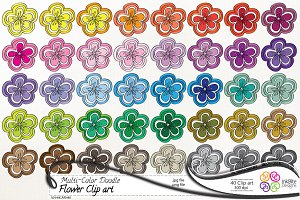 Multi-Color Doodle Flower Clip art