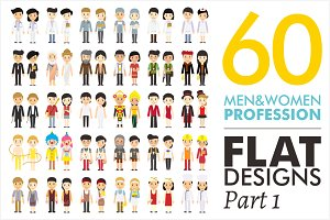 60 Men&Women Profession Flat Designs