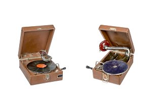 Two vintage gramophone isolated