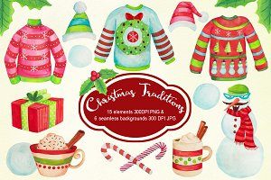 Christmas Sweaters Watercolors