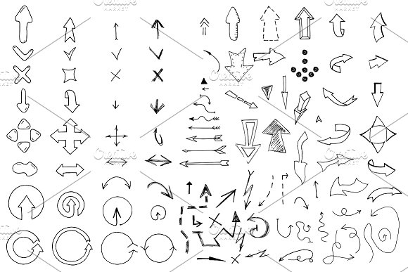 Doodle arrows collection. Hand drawn - Icons