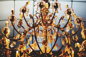 A wonderful old gold chandelier