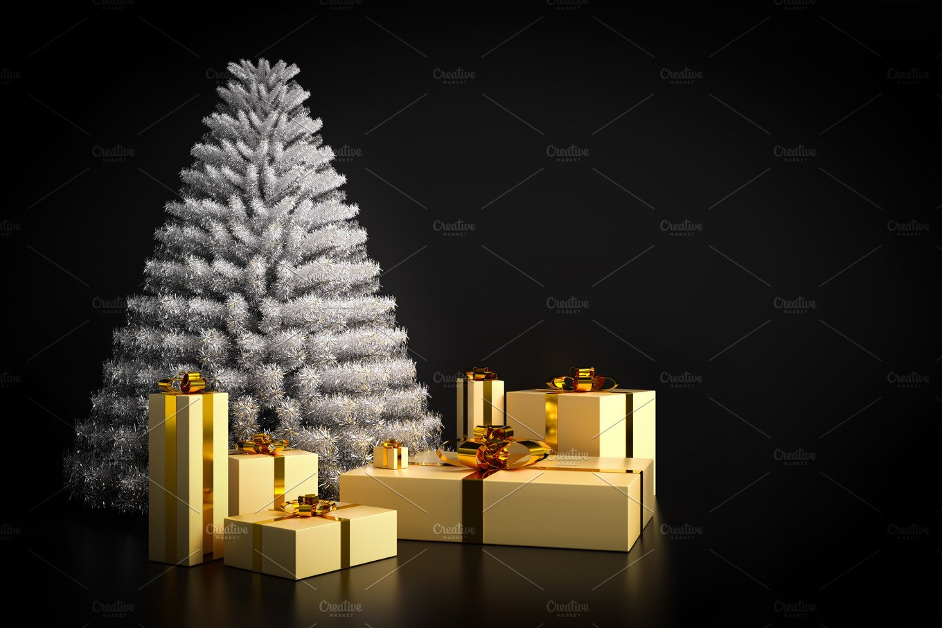 Shining modern Christmas tree and presents on black background. ~ Holiday Photos ~ Creative Market