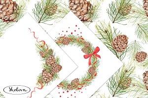 The pine cones. Watercolor.
