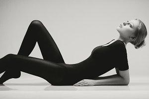 Black & white portrait of model