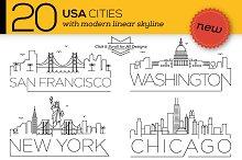 20 USA Cities Linear Skyline
