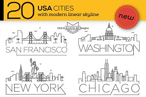 20 USA Cities Linear Skyline