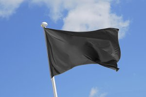 black flag waving