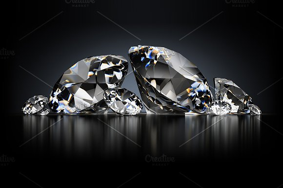 diamonds on a black background graphic objects creative market