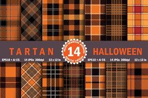Halloween Tartan Seamless Pattern