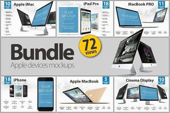 Download BUNDLE Apple devices mockups - Free Mockups, Fonts, Icons