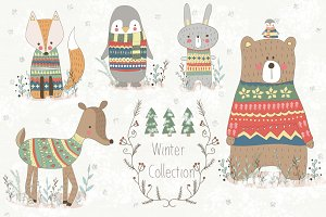 Winter Collection.Animal set