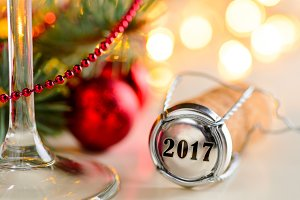 christmas or new year sparkling wine cork