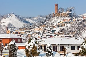 Small italian town under the snow.