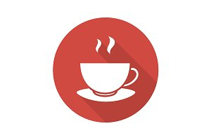 Steaming teacup icon. Vector