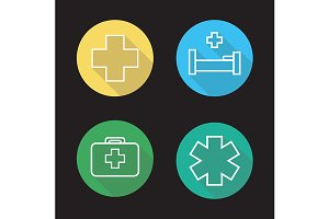 Hospital. 4 icons. Vector