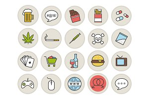Addictions and bad habits. Vector