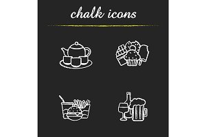 Food and drinks. 4 icons. Vector
