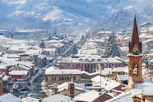 Small town under the snow.