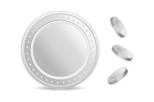 Realistic silver coins vector set.