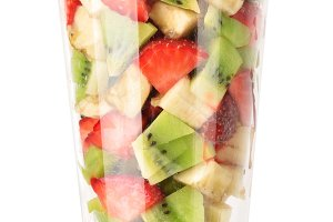 Fresh fruit salad in glass
