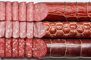 Three types of smoked sausages