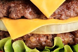Fresh juicy burger close up