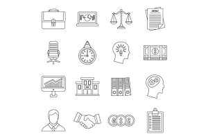 Banking icons set, outline style