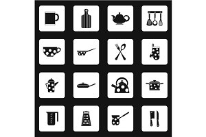 Kitchen utensil icons set