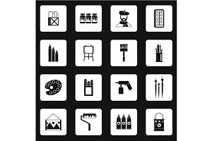 Artist studio icons set