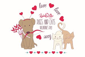 Dogs & Cats, Valentine's Day, Vector