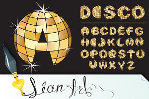 Gold disco ball letters - alphabet
