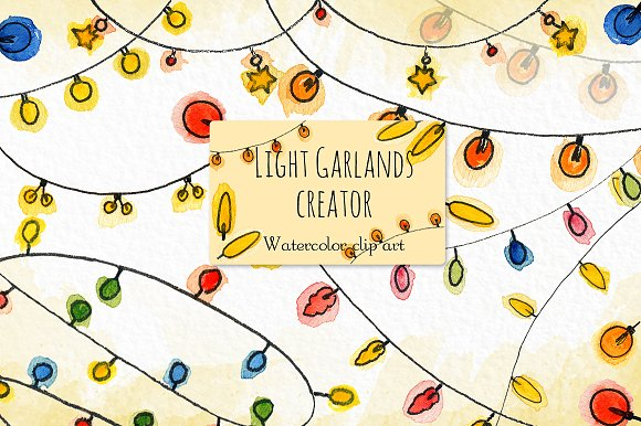 Light garlands creator. Clip art. - Illustrations