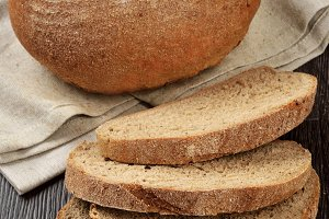 A loaf of rye-wheat bran bread