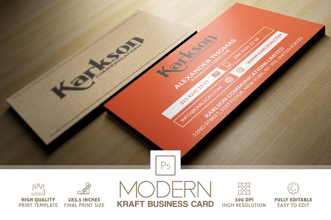 Modern kraft paper business card business card templates modern kraft paper business card business card templates creative market magicingreecefo Gallery