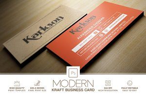 Modern Kraft Paper Business Card