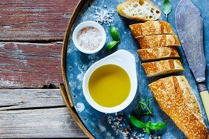 Baguette, Olive oil and basil