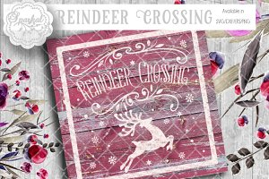 Vintage Reindeer Crossing Vector