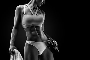 Woman with muscular body