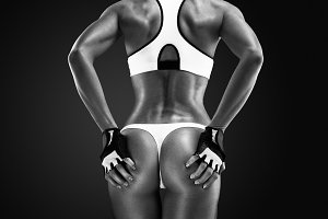 Rear view of fitness female