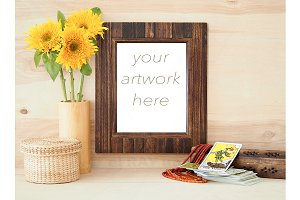 Sunflowers, Wood Frame Mockup