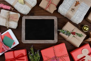 Christmas Presents and Chalkboard