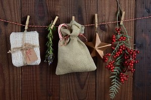 Christmas Gifts Hanging From Twine