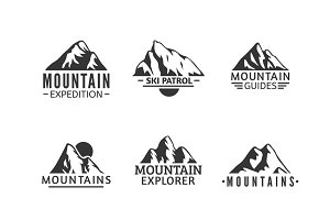 Hand drawn mountains logo and badges